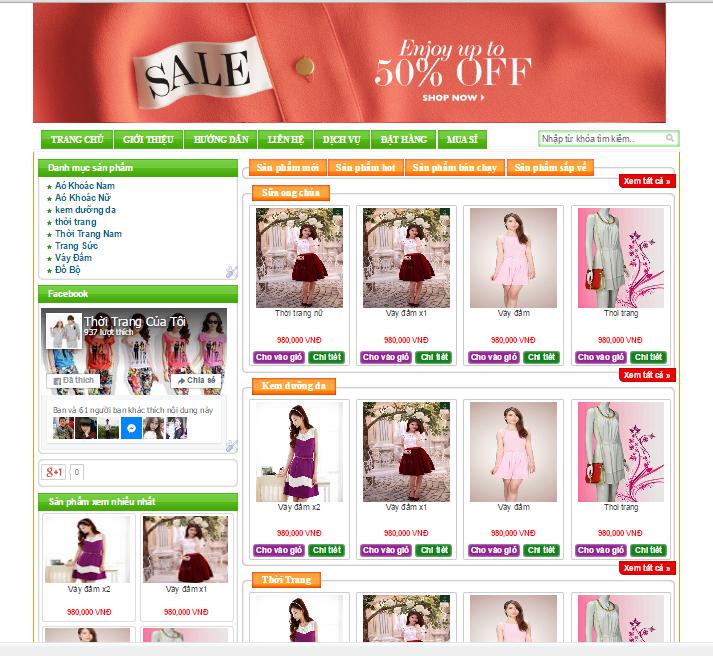 Template bán hàng Blogspot miễn phí