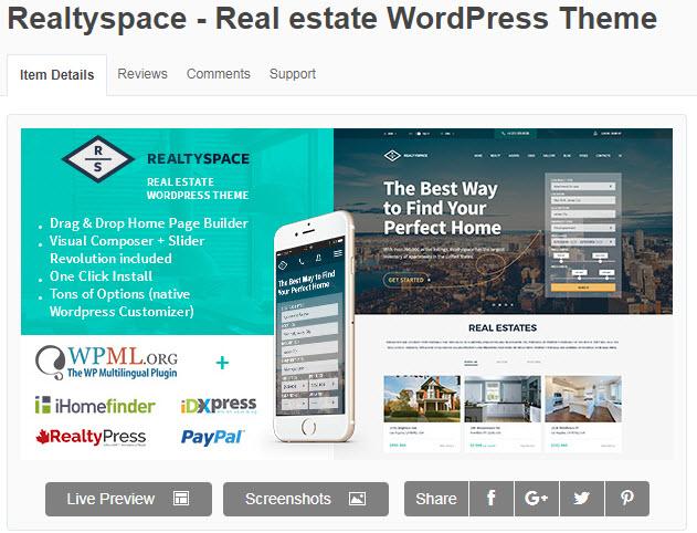 theme wordpress bất động sản realtyspace