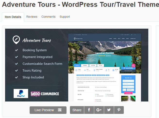 theme wordpress du lịch Adventure Tours