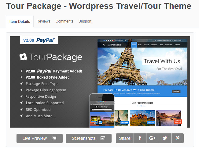 theme wordpress du lịch tour package